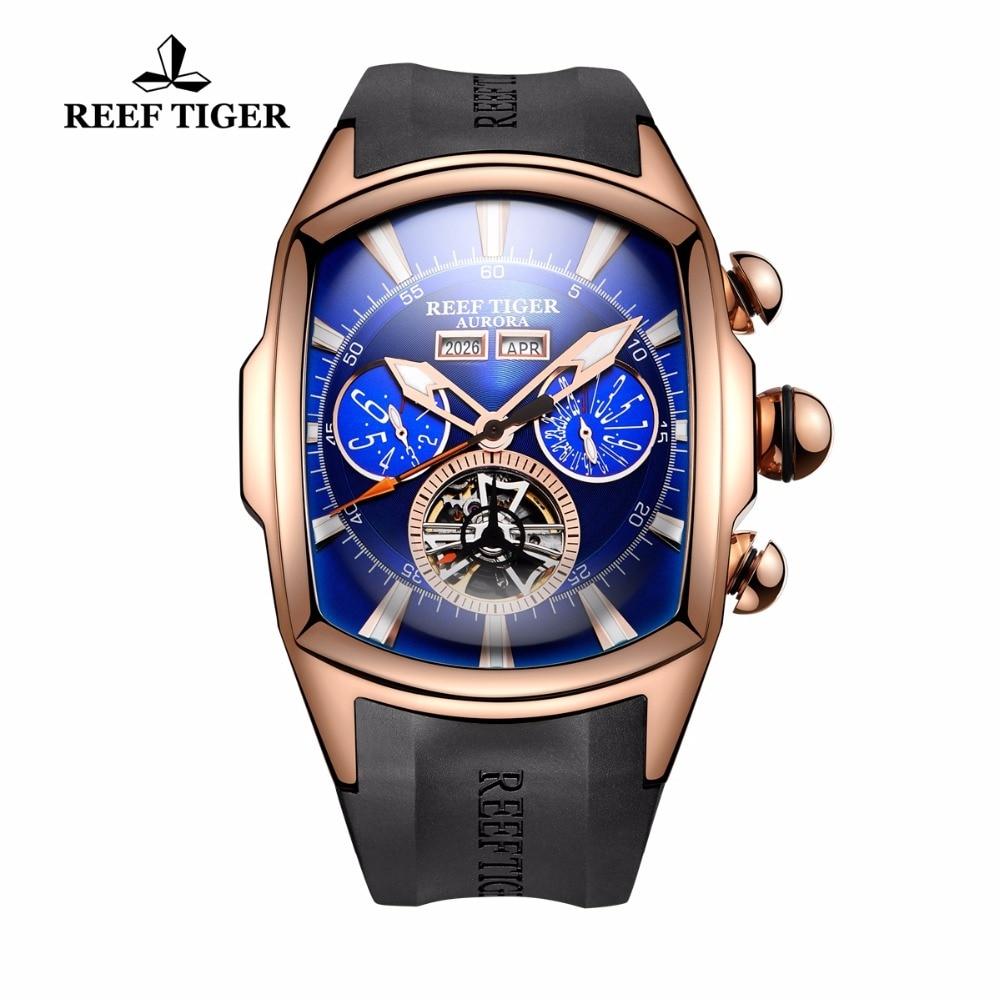 Reef Tiger/RT Mens relojes deportivos analógico luminoso Tourbillon relojes de oro rosa Dial azul tanque relojes RGA3069