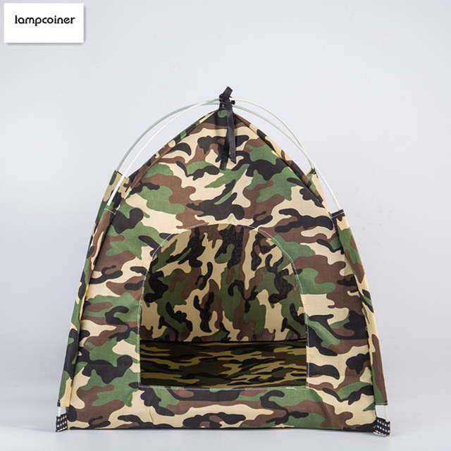 The new camouflage tent Summer air dog kennel cat litter pet house Removable dog tents : dog kennel tent - memphite.com
