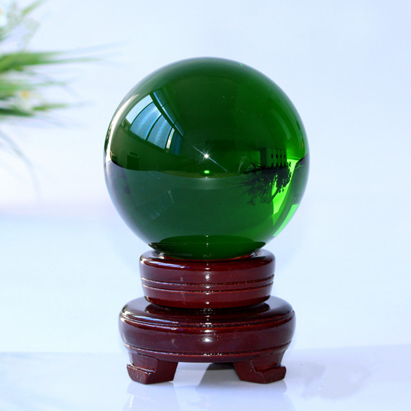 Green Magic Crystal Glass Healing Sphere Balls Craft Gift Rare Quartz Feng Shui home ornaments Crystals power Ball +Stand 10 CM