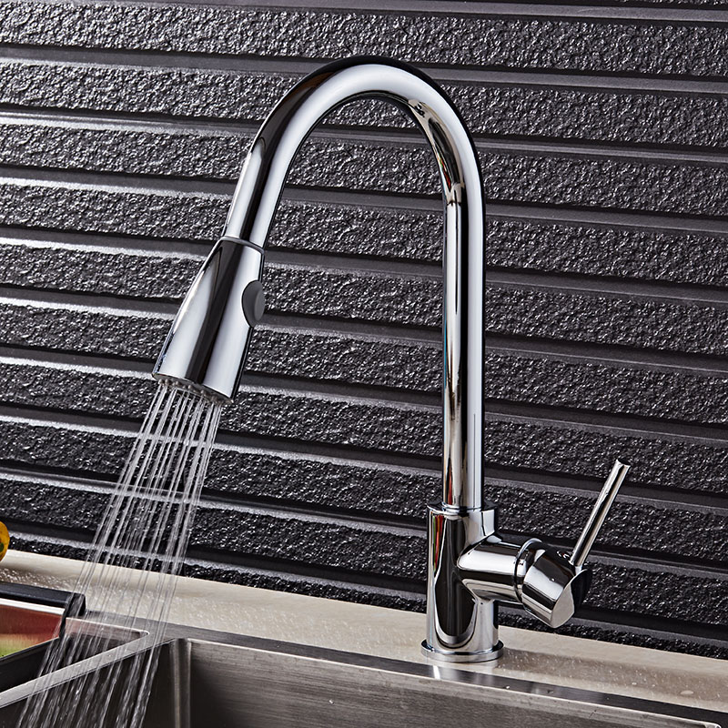 Newly Arrived Pull Out Kitchen Faucet Gold/Chrome/nickel/black Sink Mixer Tap 360 degree rotation kitchen mixer taps Kitchen Tap pull out kitchen faucets brushed nickel sink mixer tap 360 degree rotatable torneira cozinha mixer taps