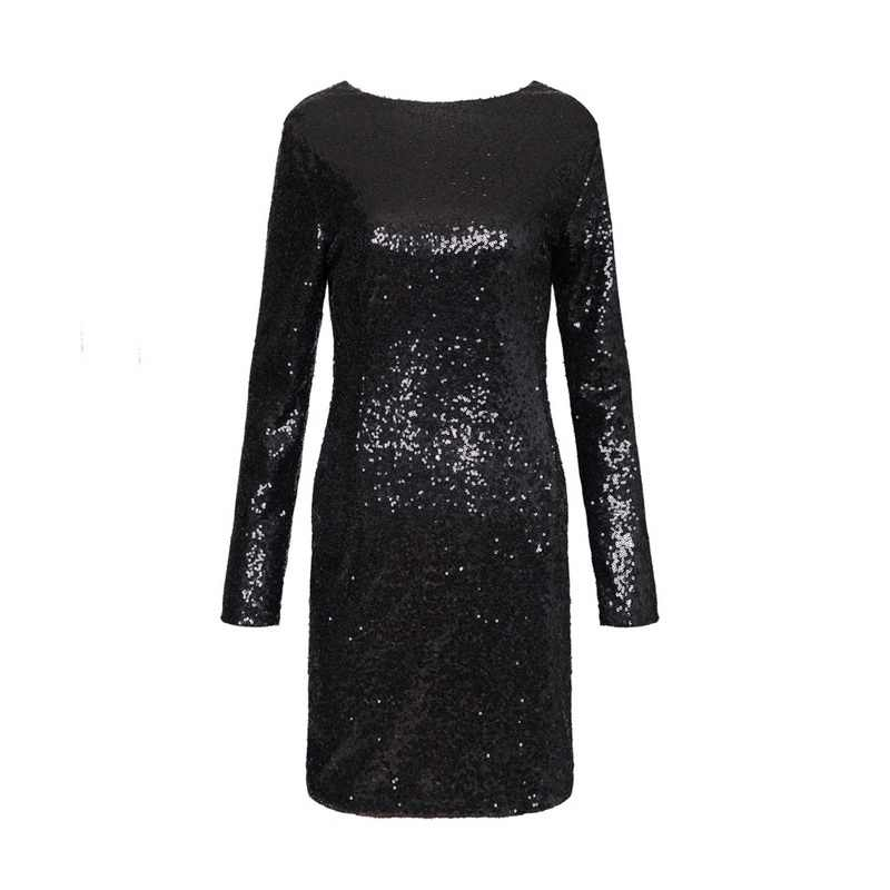 Женское сексуальное платье с открытой спиной, с блестками, с длинным рукавом, вечерние, Клубные, хит продаж, Vestidos femininos, Европейское повседневное облегающее платье QZ2238