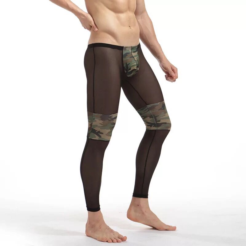 Body Shaping Pants Fashion Soft Comfortable Camouflage Male Panties Transparent Men Leggins Tight Mens Sexy Long Underwear