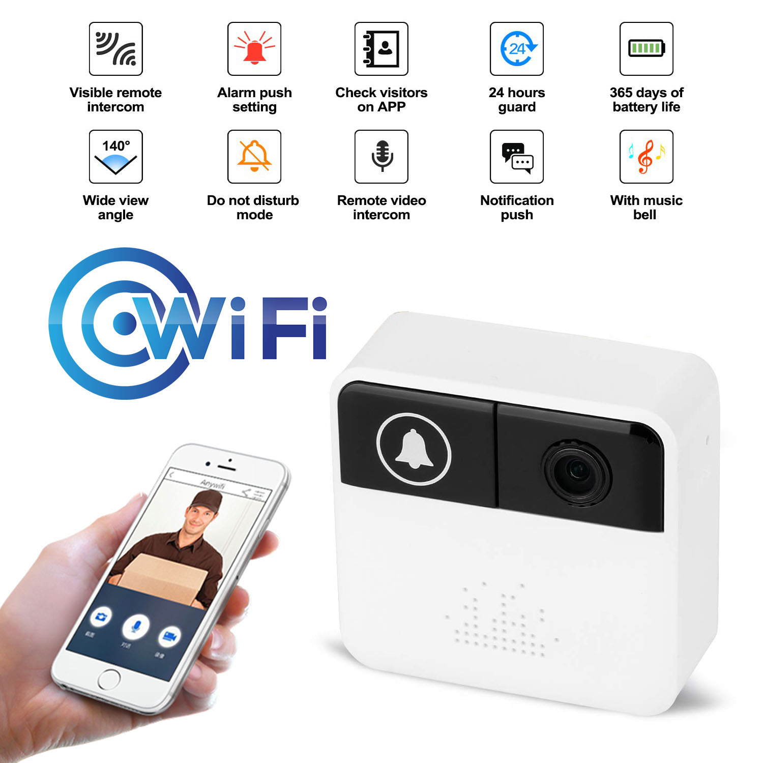 Smart WiFi Video Intercom Doorbell Security Camera  Infrared Remote Record Home Security Monitoring  Door Phone Bell
