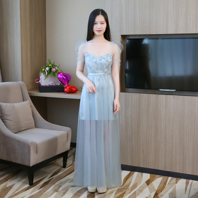 Embroidery Bridesmaids Dresses For Women  Wedding Guest Dress  Blue Grey Long Dress Back Of Bandage