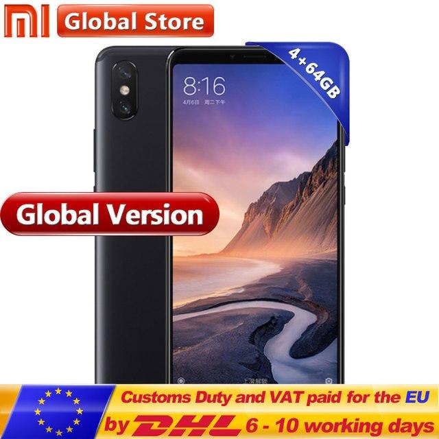 Global Version Xiaomi Mi Max 3 64GB 4GB Mobile Phone Snapdragon 636 Octa Core 6.9'' Full Screen Display B4 B20 5500mAh