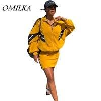 OMILKA 2018 Autumn Women Long Sleeve Turtleneck Zipper Jacket and Skirt Set Casual Yellow Patchwork Street 2 Piece Clothing Set