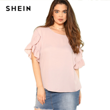 SHEIN Asymmetrical Ruffle Sleeve Top 2018 Summer Round Neck Petal Short Sleeve Solid Blouse Women Pink Plus Size Casual Blouse