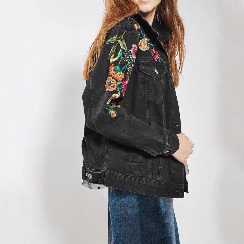 Automne Manteau D'été Veste Mode Brodé Neuf Vestes Bombardier Jeans Femmes V Noir Denim Belle Haute De Qualité cou Revers Base 7ra570xw