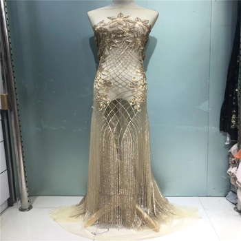 VILLIEA Fashion African Lace Fabric High Quality Gold Lace Nigerian Lace Fabric 2018 High Quality Lace With Sequins 5yards