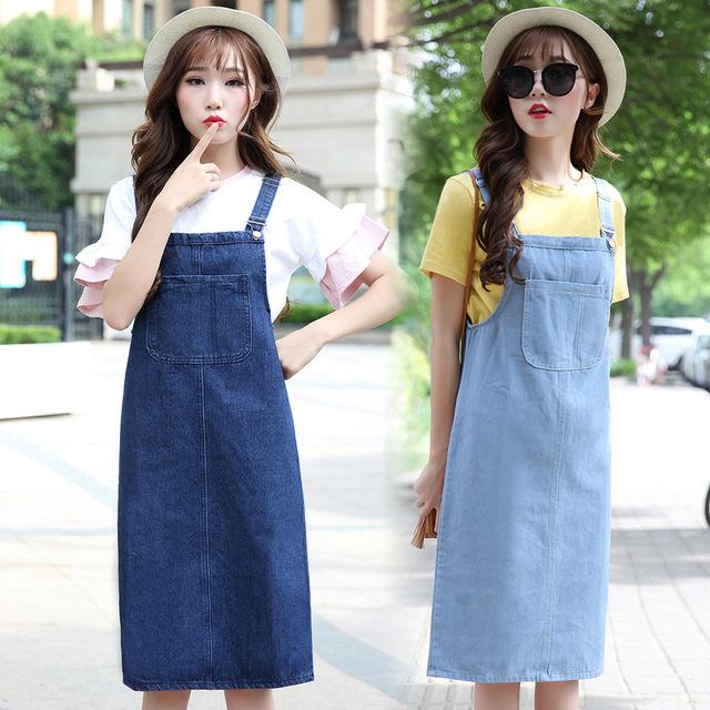 Korean Fashion Women's <font><b>Bib</b></font> Overalls Denim <font><b>Skirts</b></font> Knee Length Midi Split Jeans <font><b>Skirts</b></font> Woman Cotton Blue Suspender Denim <font><b>Skirts</b></font> image