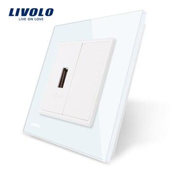 Livolo 4 色クリスタルガラスパネル、 1 ギャングの Usb プラグソケット/コンセント VL-C791U-11/12/13/15