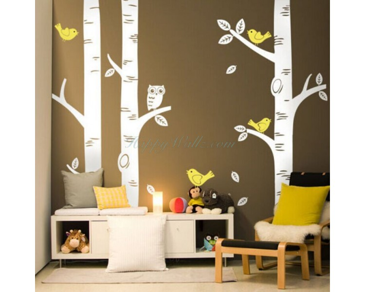 Birch Tree Wall Sticker Թռչուններ Owl Tree Wall Wall Decal Մանկական սենյակ DIY Երեխաներ Tree Sticker Nursery Decors Hot Sale T34