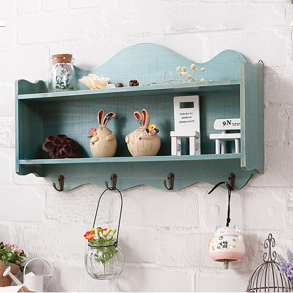 Decoration Organization Vintage Home With Hooks Painted Display Curved Rim Modern Hanging Wall Shelf Wooden Two Tier Storage