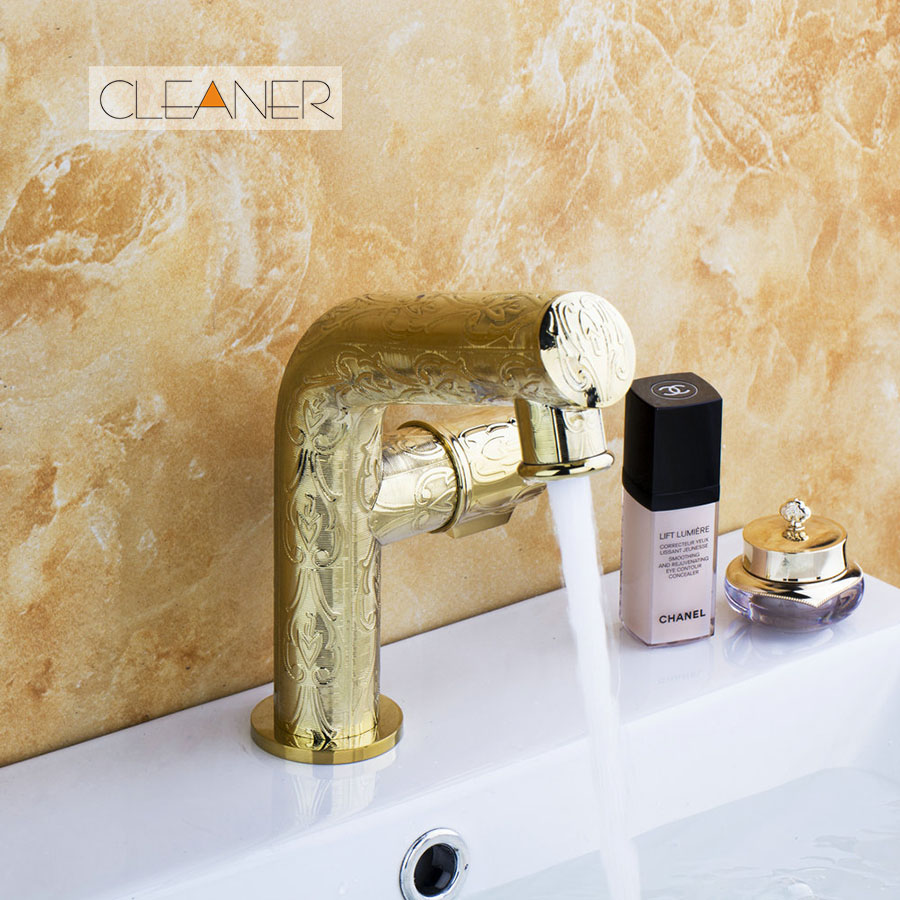 Luxury Golden Polished Faucet Bathroom Faucet Fast Shipping Deck Mounted Basin Sink Single Hand Vanity Sink Mixer Water Tap golden plated water mixer tap faucet kitchen sink basin swivel vessel golden polished deck mounted single handle faucet