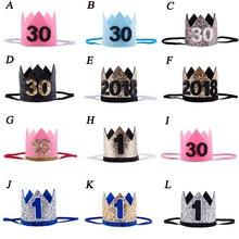 Детский новогодний головной убор на 1-й день рождения, детский головной убор на день рождения для девочек и мальчиков, розовый, синий цвет, цветы, корона принцессы, головная повязка для взрослых, головной убор
