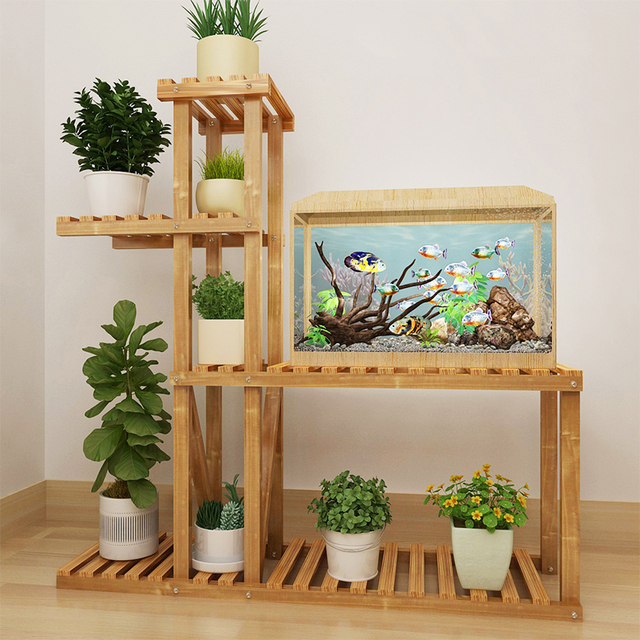 Wood Bathroom Shelf Flower Pot Storage Indoor Living Room Wooden Plant Stands Balcony Shelves Floor Type