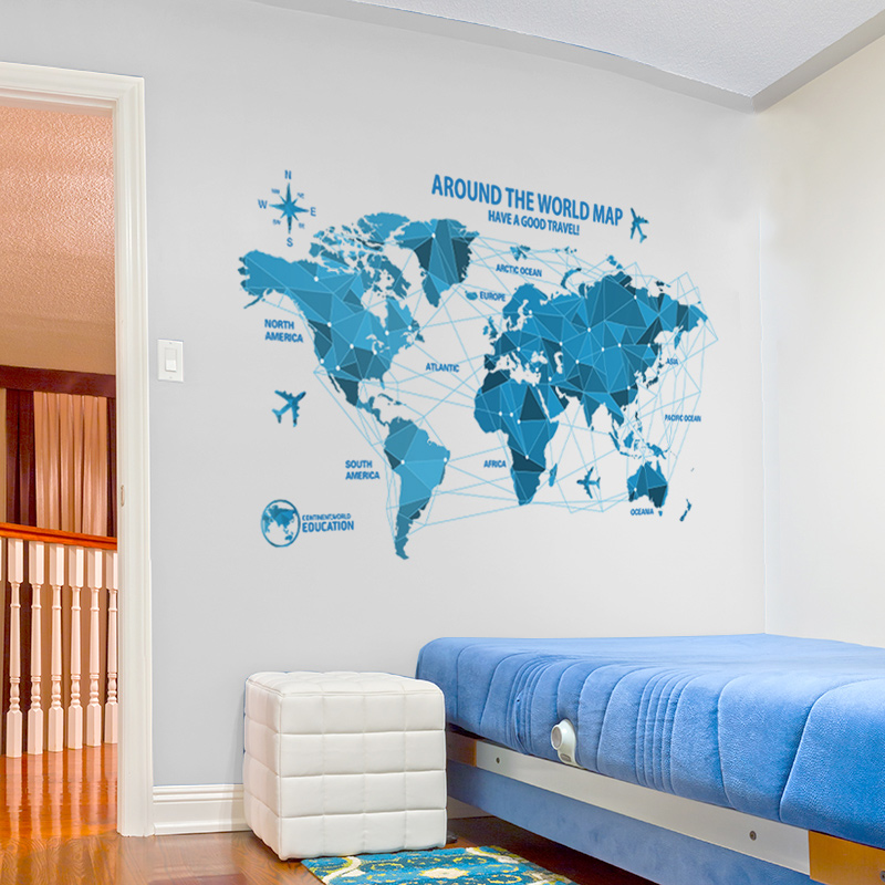 Creative origami world map for office wall sticker for kid room creative origami world map for office wall sticker for kid room living room removable waterproof mural home decoration wallpaper in wall stickers from home gumiabroncs Image collections