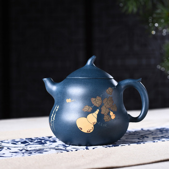 Goods Full Manual Raw Ore Blackish Green Clay Painting Gourd Kettle Kungfu Online Teapot Tea Set A Piece Of Generation Hair