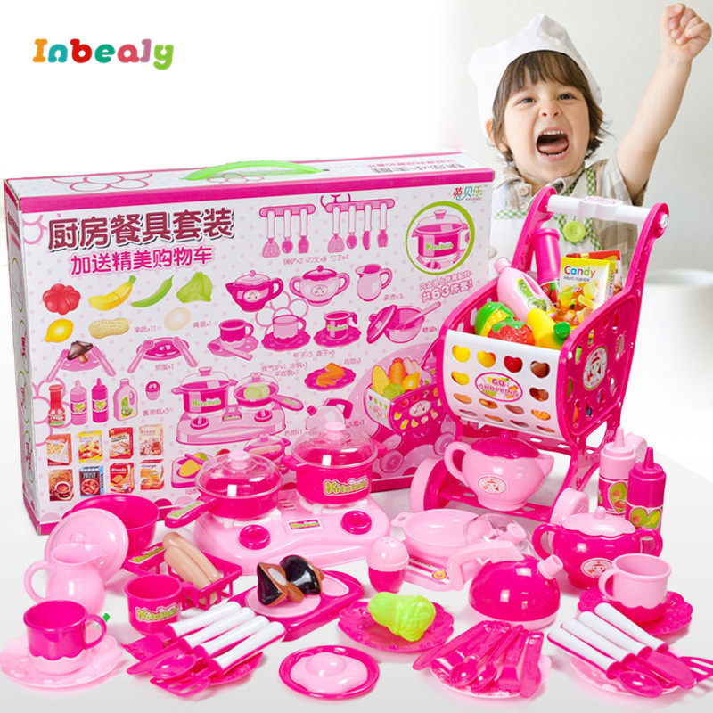 Inbeajy Classic Gift Cooking Toys For Children 63PCS Deluxe Tableware Pretend Play Cutting Food Set Kids Kitchen Educational Toy