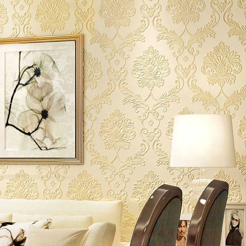 European Style Damascus Non-woven Wallpaper 3D Embossed Wallpapers For Living Room Bedroom Wall Covering Wall Papers Home Decor milan classical wall papers home decor non woven wallpaper roll embossed simple light color living room wallpapers wall mural
