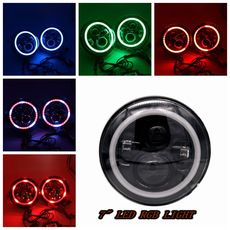 40W 7 Inch Bluetooth Remote Round RGB Halo Led Headlight Turning Signal Light Ring Angel Eye Led Headlights DRL For Jeep Wrangle one complete set 7 color rgb led angel eye halo rings for bmw e39 e46 3 5 7 series headlights w wireless ir remote controller