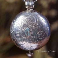T9104 Tibétain 925 Sterling argent Chanceux Babao Amulette de boîte de Prière Népal argent à la main pendentifs bijoux, livraison gratuite
