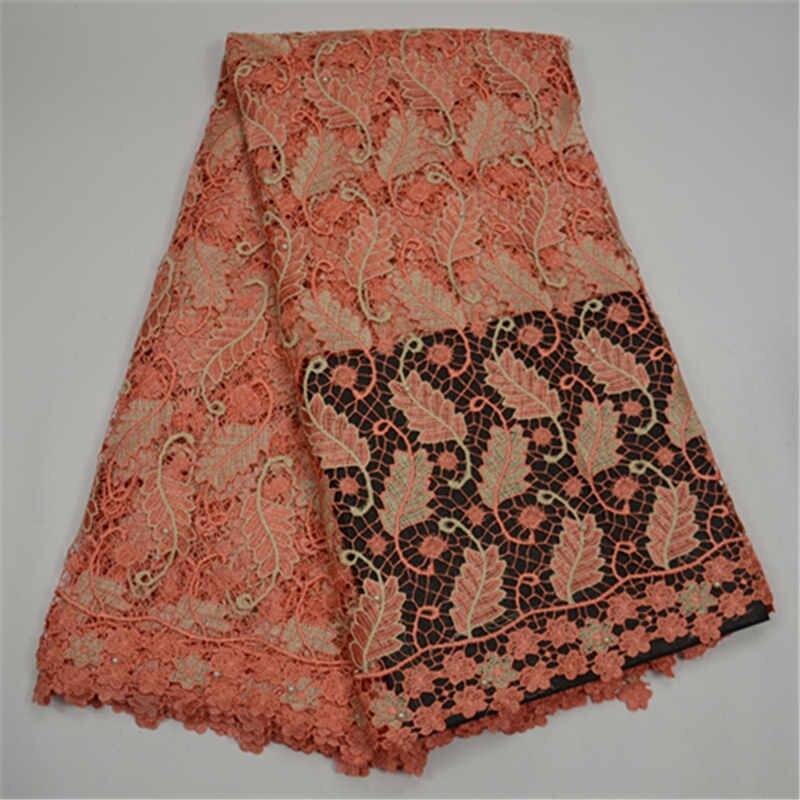 Tissus de dentelle africaine guipure dernière conception aqua cordon dentelle tissu handcut tissu avec trou bon vente tissu - 5