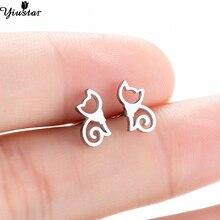 d69e59214 Yiustar Colorful Minimalist Stainless Steel Stud Earrings for Women Kids  New Fashion Cute Kitten Ear Studs