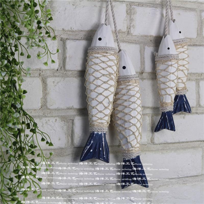 2pcs Set Mediterranean Style Wooden Hanging Fish Village Decorated