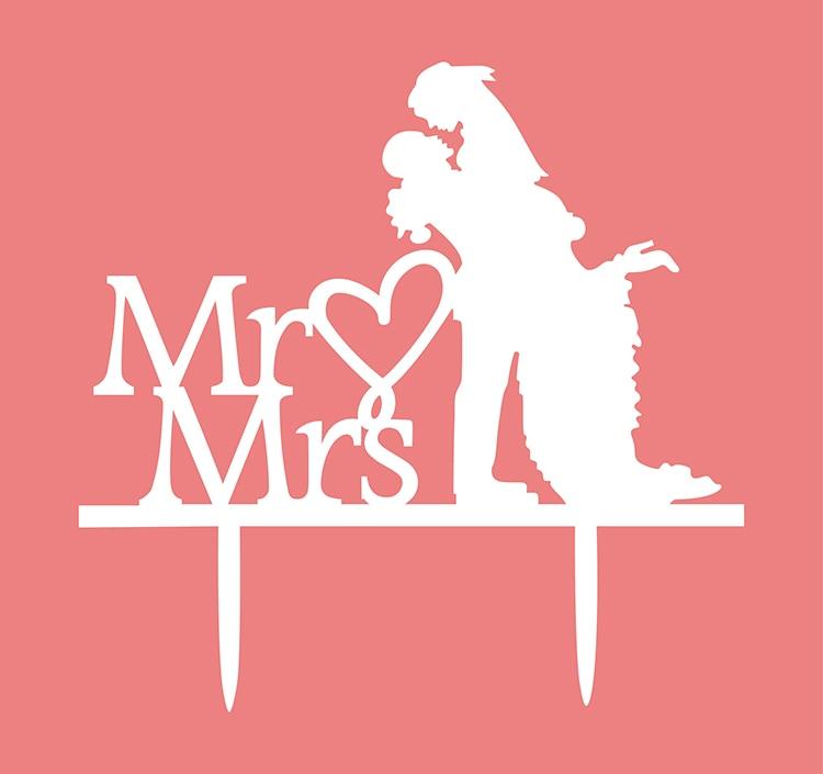 Acrílico Amor Corazón Pastel de bodas Bandera Topper Mr & Mrs Novia - Para fiestas y celebraciones - foto 3