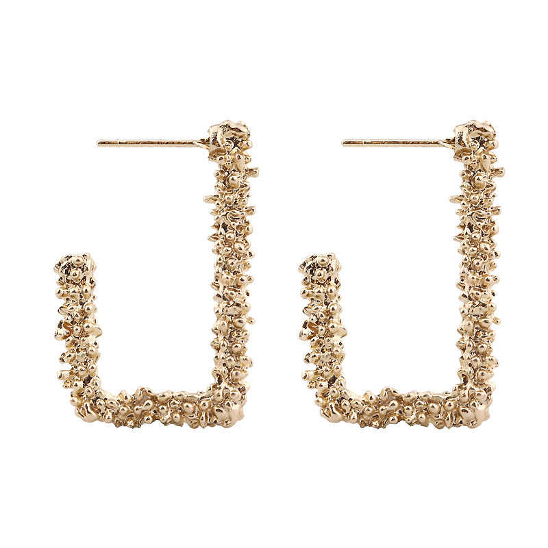 Personality Wild New Earrings Retro Fashion Alloy Geometric Carved Square Earrings Gold Grain Road Earrings Statement Earrings