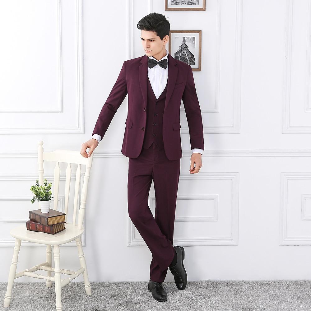 2018 New Purple Burgundy Men Suit Tuxedo Slim Fit 3 Piece Formal Groom Blazer Wedding Suits Terno Masculino Jacket+Pant+Vest