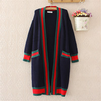Kemixiaoxuan Korean Spring Autumn Winter Panelled Patchwork Long Cardigans Knitted Outwear Casual Long Sleeve Ladies Sweaters