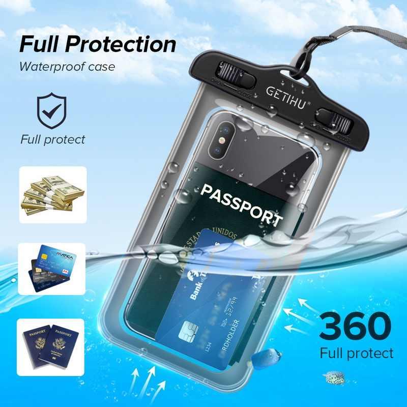 GETIHU Đa Năng Chống Nước Cho Samsung Galaxy S10 S9 S8 S7 S6 Plus Note 8 9 Di Động Vỏ Điện Thoại Coque không thấm nước Túi đựng