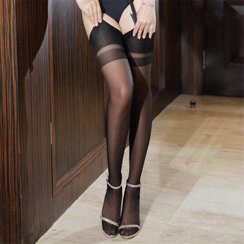 Sexy Lingerie For Women Sexy Female Stockings Back Seam Cuban Heel Thigh High Stockings For Garters Rib Top Edge Nylon Stockings