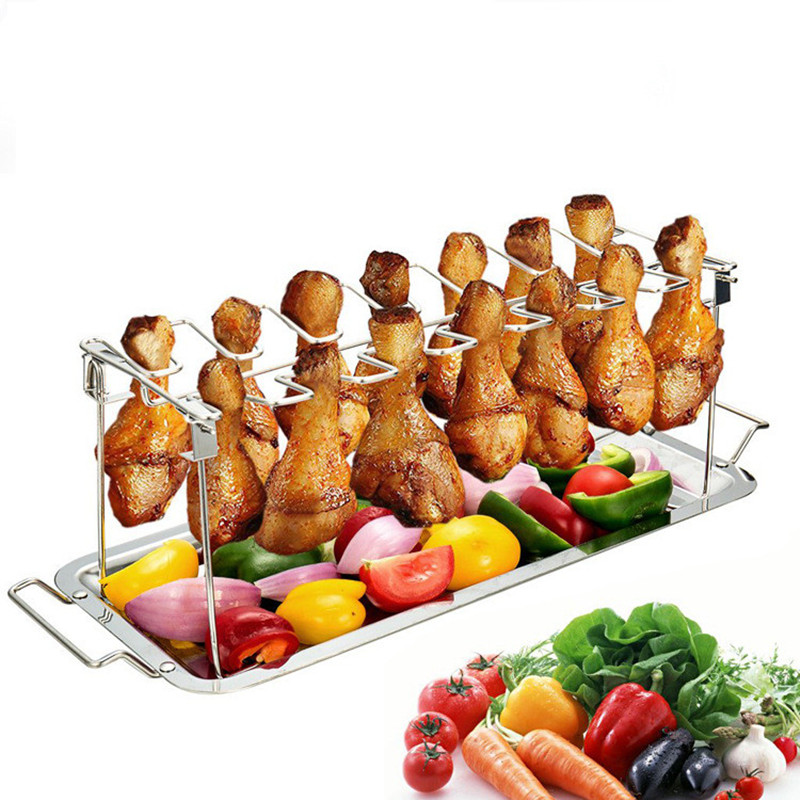 LMETJMA Chicken Wing and Leg Rack 14 Slot Stainless Steel Chicken Leg Grill Rack Chicken Drumstick Roaster For Oven Grill KC0272|  - title=