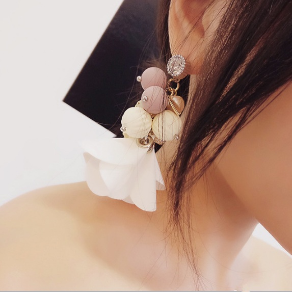 2016 Korean Fashion Exaggerate Earrings Pure Handmade Shiny Rhinestonea Colorful Beads Multi elements Long Drop Tassel