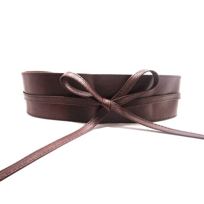 Women Female Girl   Belt   Waist Leather Wide Tie Self Wrap Around Band Dress   Belt   Soft