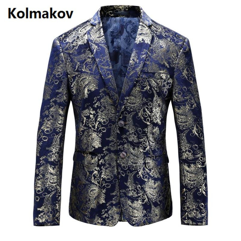 KOLMAKOV 2017 autumn men's suits casual Classic blue blazers,business jacket men, Wedding dress embroidered blazers men