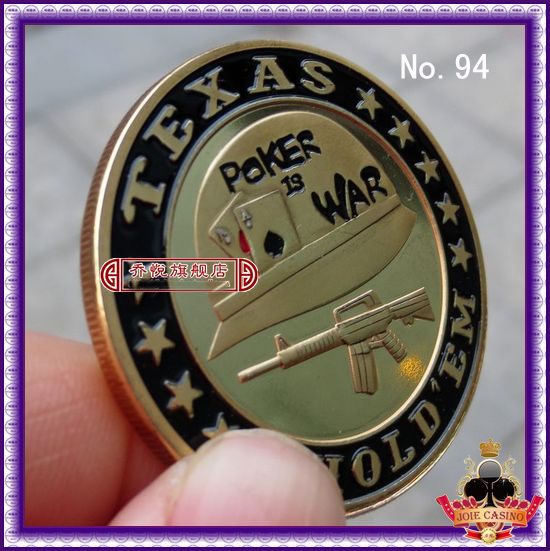 Metal for Pressing Poker Cards Guard Protector No.94 POKER IS WAR  Poker Chips Souvenir Coins