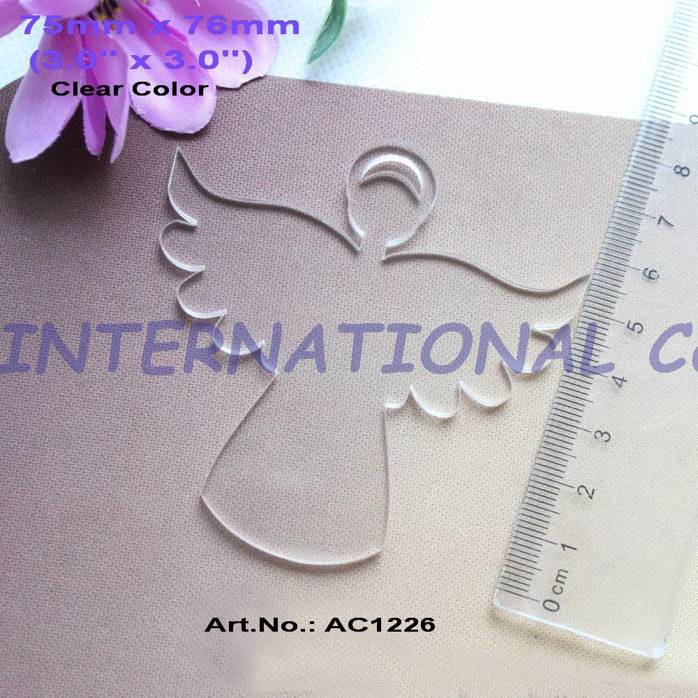 "(6pcs/lot) 76mm Clear Blank Acrylic Angel Keychains Laser Cut Acrylic Christmas Key Chains Ornaments 3""-AC1226"