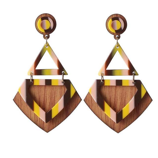 Креативный Дизайн Моды Chic Геометрическая Смола Деревянные Серьги Падения Мотаться Brincos Femme Bijoux Аксессуары 6 Цветов