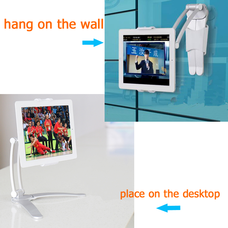 New Foldable 5-11inch Mobile Phone and Tablet PC Holder can be used as Desktop stand or Wall Mount Bracket only 456g weight foldable portable phone flat bracket