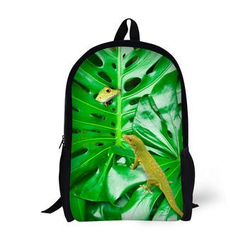 Dzieci torby szkolne dla nastoletnich dziewcząt zielony liść zwierząt torby szkolne dla dzieci Bookbag 3D Cartoon zwierząt plecak Mochila tanie i dobre opinie AnyFocus CN (pochodzenie) wytłoczone Unisex Miękka osłona 20-35 litrów miękki uchwyt Plecaki Z elementami naszywanymi