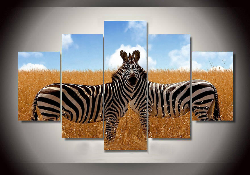 2017 Sale Fallout Modern On Canvas Zebra Painting Wall Art Picures For Home Decor Living Room Pictures Prints Unframed 5 Pieces