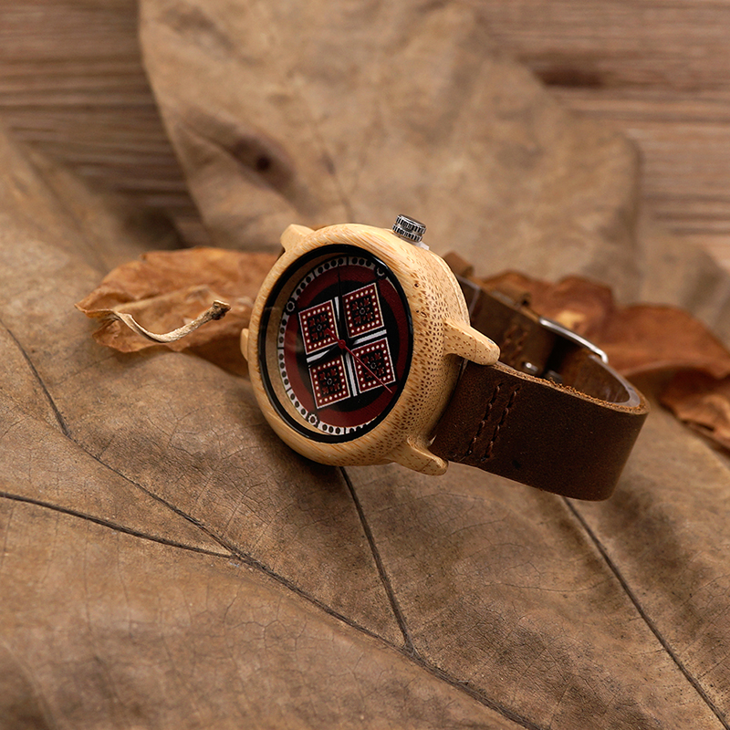Image 5 - BOBO BIRD J19 Bamboo Wooden Watch Women Genuine Leather Band Watch With Japanese Miyota Movementwatch withwatch womenwatch woman genuine leather -