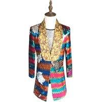 Colorful Sequin Blazer Men 2019 New Long Blazer Suit Jacket Gold Green Pink Prom Blazers For Men Stage DJ Singer Clothing 5xl