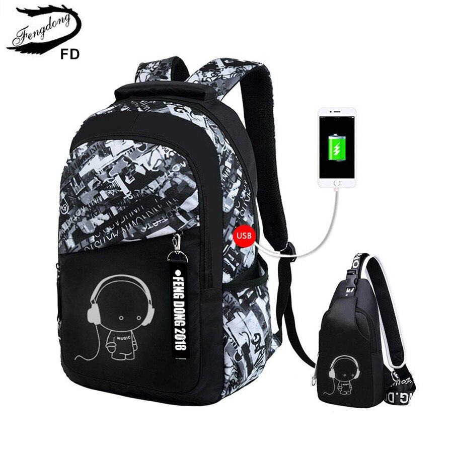 FengDong erkek okul çantaları su geçirmez büyük gençler için sırt çantası sırt çantası yüksek okul sırt çantası erkek öğrenci için göğüs çanta seti