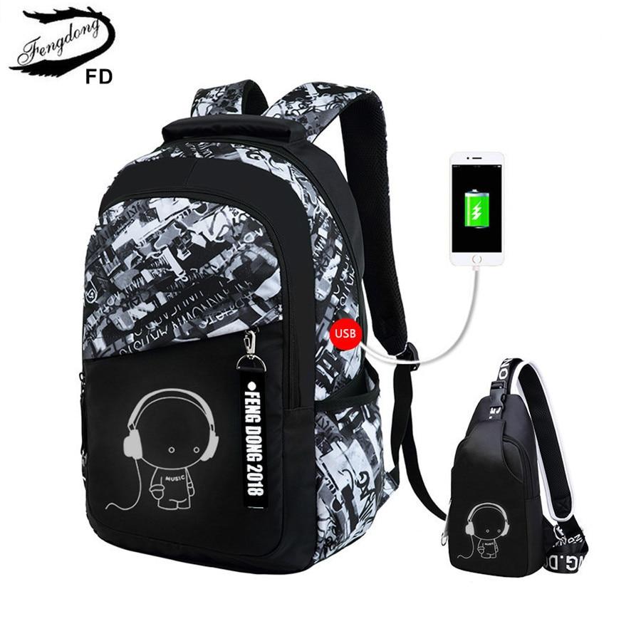 Рюкзак FengDong для мальчиков, большой, водонепроницаемый с нагрудной сумкой|boys school bags|school bagsboys school | АлиЭкспресс