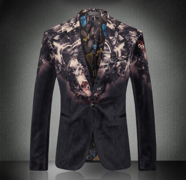 Европа и соединенные Штаты мужская новых осенью 2016 Развивать нравственность моды бархата печати зерно пряжки пиджак